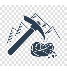 Silhouette icon mountain pickaxe vector