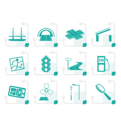 Stylized road navigation and travel icons vector