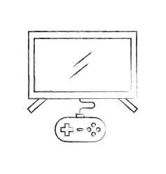 Tv with video game control vector