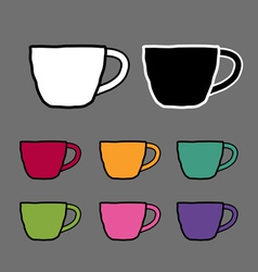 Vintage colored set mugs sketch drawing ill vector image