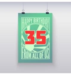 Vintage retro poster Happy birthday vector image vector image