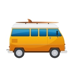 Vintage yellow travel minibus camper cartoon van vector
