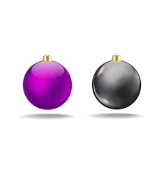 Violet and black Christmas tree balls Isolated vector image vector image
