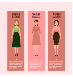 Woman dresscode flyers set vector
