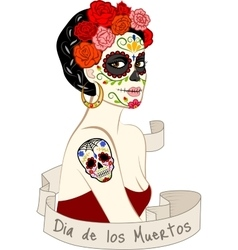Woman with dia los muertos make-up vector