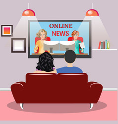 Young family man and women watching tv vector