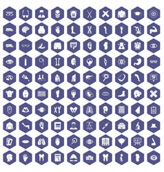 100 anatomy icons hexagon purple vector
