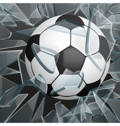 Soccer ball breaking glass vector
