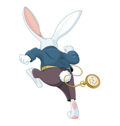 white rabbit running away vector image
