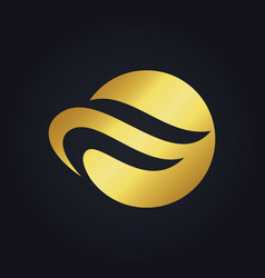 Round wave abstract gold logo vector