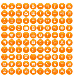 100 honeymoon icons set orange vector