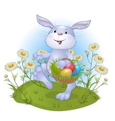 Amusing rabbit with easter eggs vector