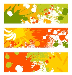 Abstract fruit vegetable banners vector