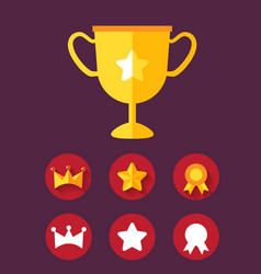 Trophy achievement game icon set vector