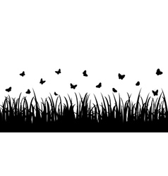Butterflies over the grass seamless vector