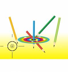 Pencils and dartboard vector