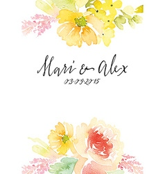 Watercolor greeting card flowers vector