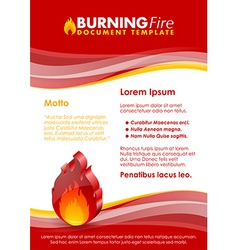 Burning fire document template vector