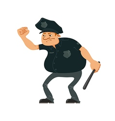 Angry police officer vector