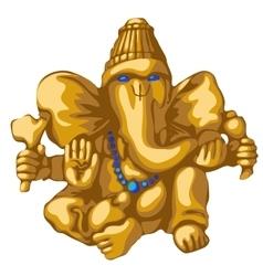 Golden statue of ganesha religious symbol vector