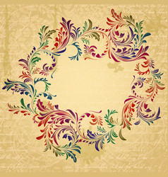 Antique bright floral frame on grungy parchment vector