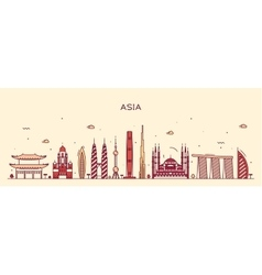 Asia skyline Trendy line art vector image vector image