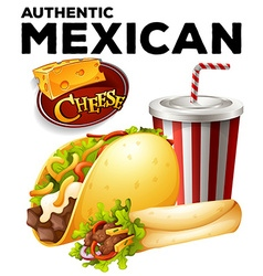 Authentic mexicon food on poster vector image vector image