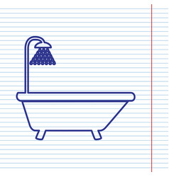 Bathtub sign navy line icon on notebook vector