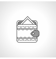 Black line icon for wallet with card vector image