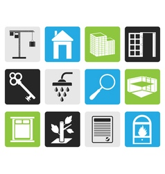 Black Simple Real Estate icons vector image vector image