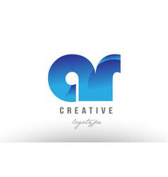 Blue gradient ar a r alphabet letter logo vector