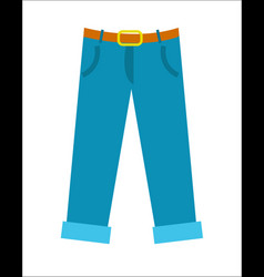 Blue pants with belt icon in flat design vector