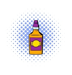 Bottle of whiskey icon comics style vector image