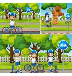 Children riding bicycle in the park vector image