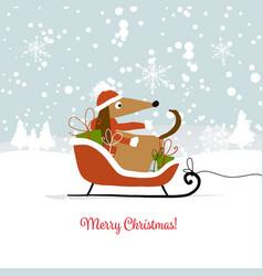 christmas card santa dog with gifts symbol of vector image