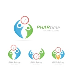 clock and people logo combination Time and vector image