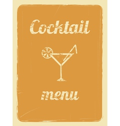 Cocktail menu retro poster orange vector