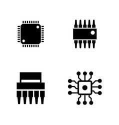 computer chips simple related icons vector image vector image
