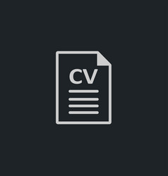 Cv icon simple document sign vector
