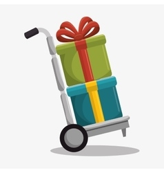 Delivery cart with gifts isolated icon vector