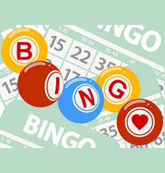 Drawing style bingo balls over green cards vector