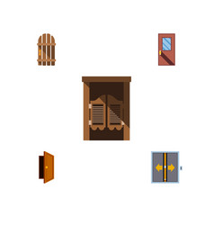 Flat icon approach set of entry door wooden vector