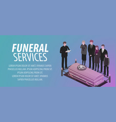 Funeral services banner burial cemetery vector
