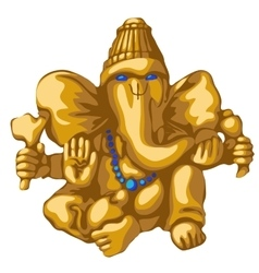 Golden statue of ganesha religious symbol vector