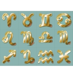 Golden Zodiac Signs Stickers Aries Taurus Gemini vector image