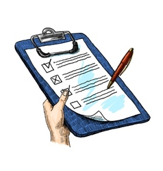 Hand With Clipboard vector image