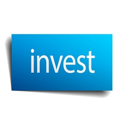 invest blue paper sign on white background vector image