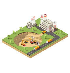 Isometric mining industry template vector