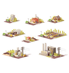 Low poly waste management icons vector