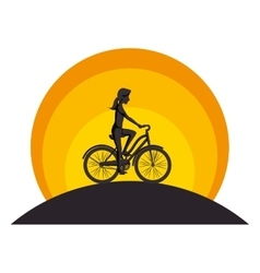 Person avatar in bicycle vehicle isolated icon vector